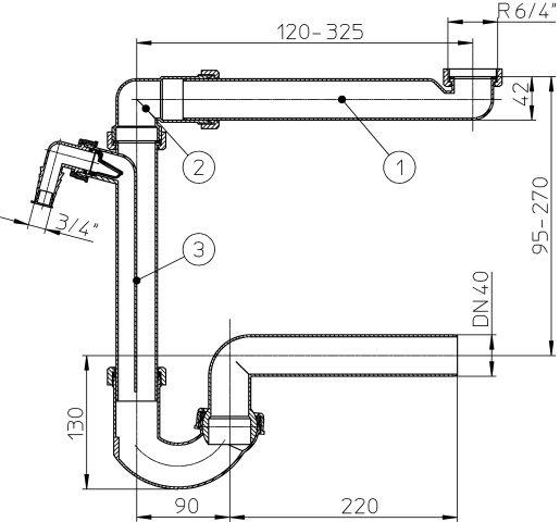 """HL126/40 Helytakarékos DN40/6/4"""" mosogató szifon / csőszifon, mosógép csatlakozóval"""