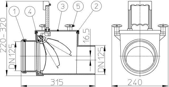 HL712.1 Visszatorlás gátló szelep, DN125 nemesacél csappantyúval, tisztítófedéllel, kézi zárral
