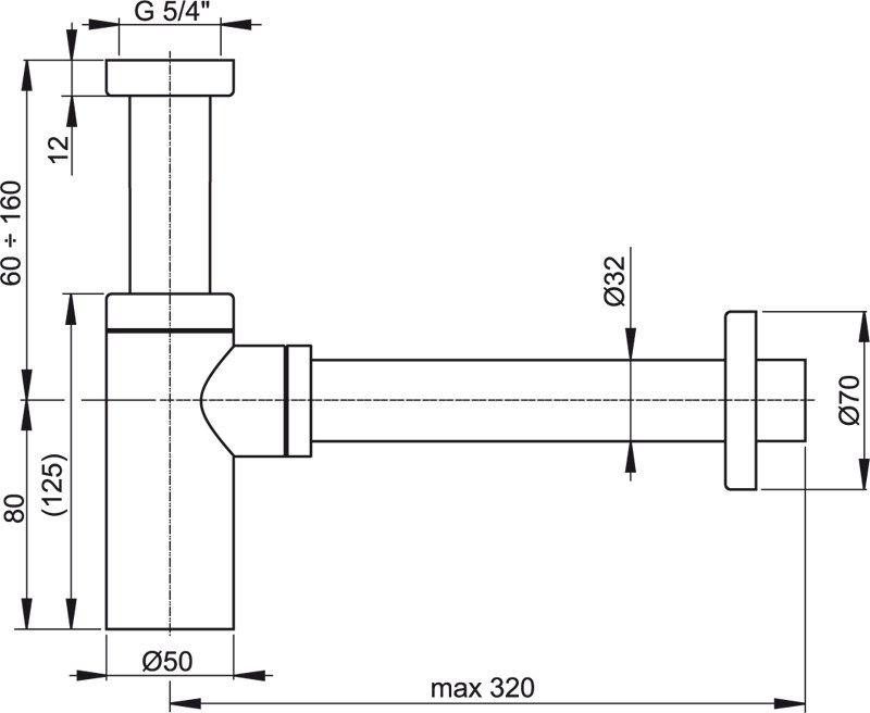 AlcaPLAST A401 BLISTR, Mosdószifon Ø32 DESIGN, fém, szögletes