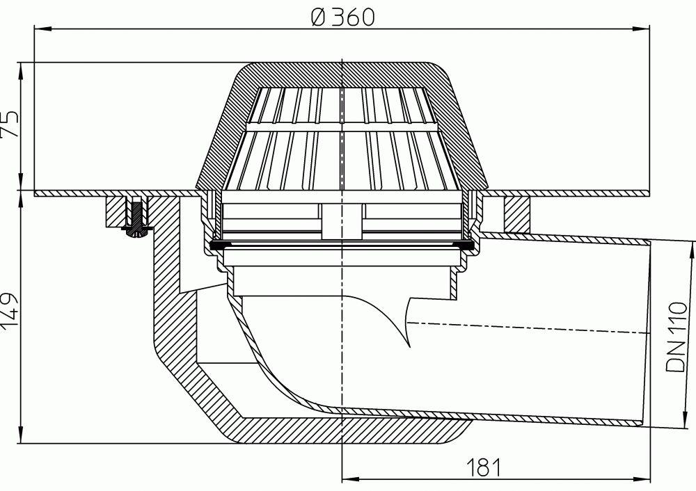 HL64F/1 Lapostető lefolyó vízszintes DN110, PP szigetelő tárcsával, lombfogó kosárral
