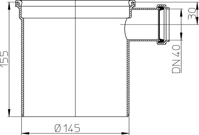 HL350.2 Magasító elemet 130mm/d 145mm, DN40 bemenettel