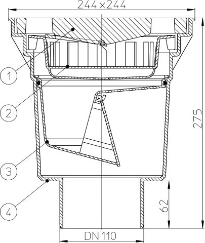 HL606/1 Perfekt lefolyó DN110 függőleges kimenettel, 244x244mm műanyag kerettel, 226x226mm öntöttvas ráccsal, mechanikus bűzzárral, szemétfogó kosárral.