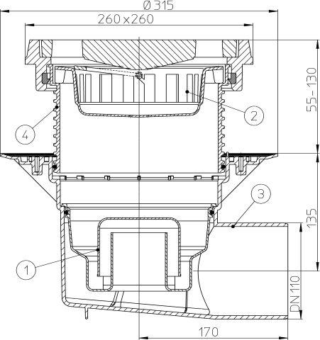 HL615.1W Perfekt lefolyó DN110 vízszintes kimenettel, szigetelő karimával, 260x260mm öntöttvas kerettel, 226x226mm öntöttvas ráccsal, vízbűzzárral, szemétfogó kosárral.