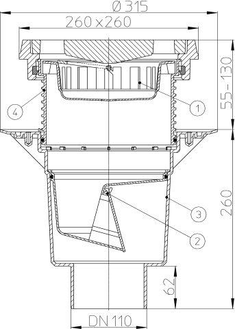 HL616.1/1 Perfekt lefolyó DN110 függőleges kimenettel, szigetelő karimával, 260x260mm öntöttvas kerettel, 226x226mm öntöttvas ráccsal, mechanikus bűzzárral, szemétfogó kosárral.