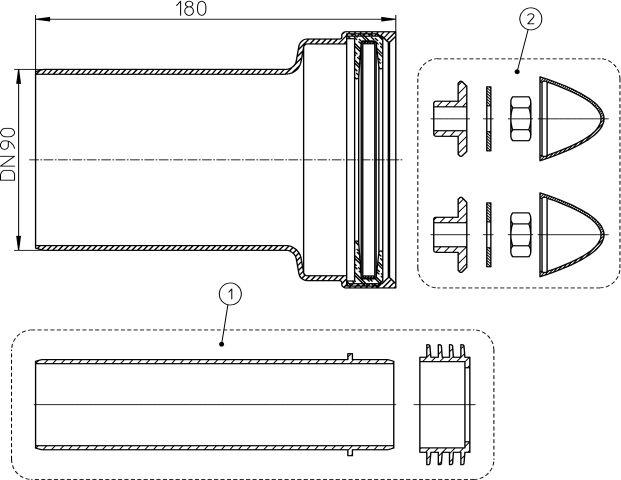 HL222/90 Csatlakozó készlet DN90 fali WC-hez