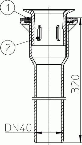 HL513/S.0 Zuhanycsatlakozó DN40 nemesacél fedél nélkül