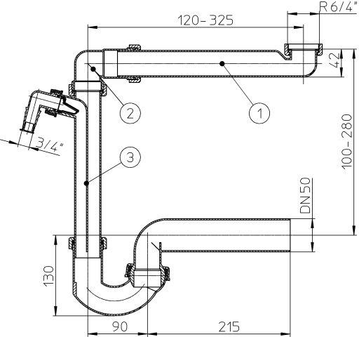 """HL126/50 Helytakarékos DN50/6/4"""" mosogató szifon / csőszifon, mosógép csatlakozóval"""