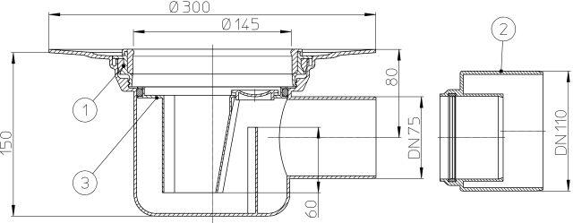 HL72.1K Padlólefolyó test DN75 vízszintes kimenettel, szigetelő karimával