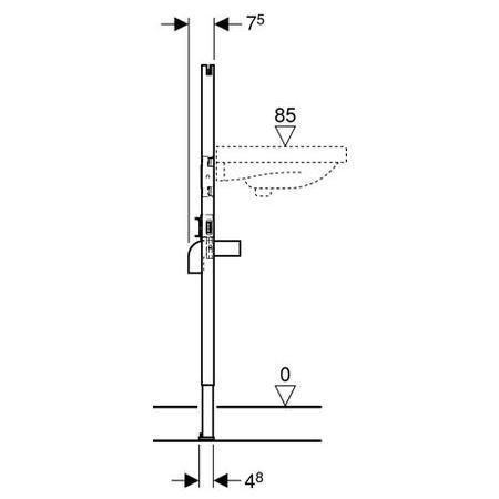 Geberit Basic Duofix mosdó szerelőelem álló csapteleppel szerelt fali mosdó részére lefurható / 111.471.00.1 / 111471001