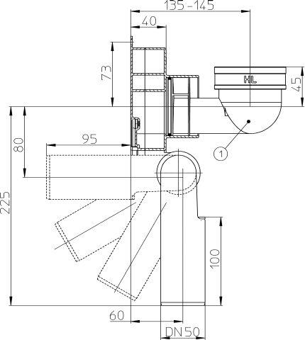 HL431/50 Vizeldeszifon, DN50 elfordítható kimenettel, függőleges bemenettel
