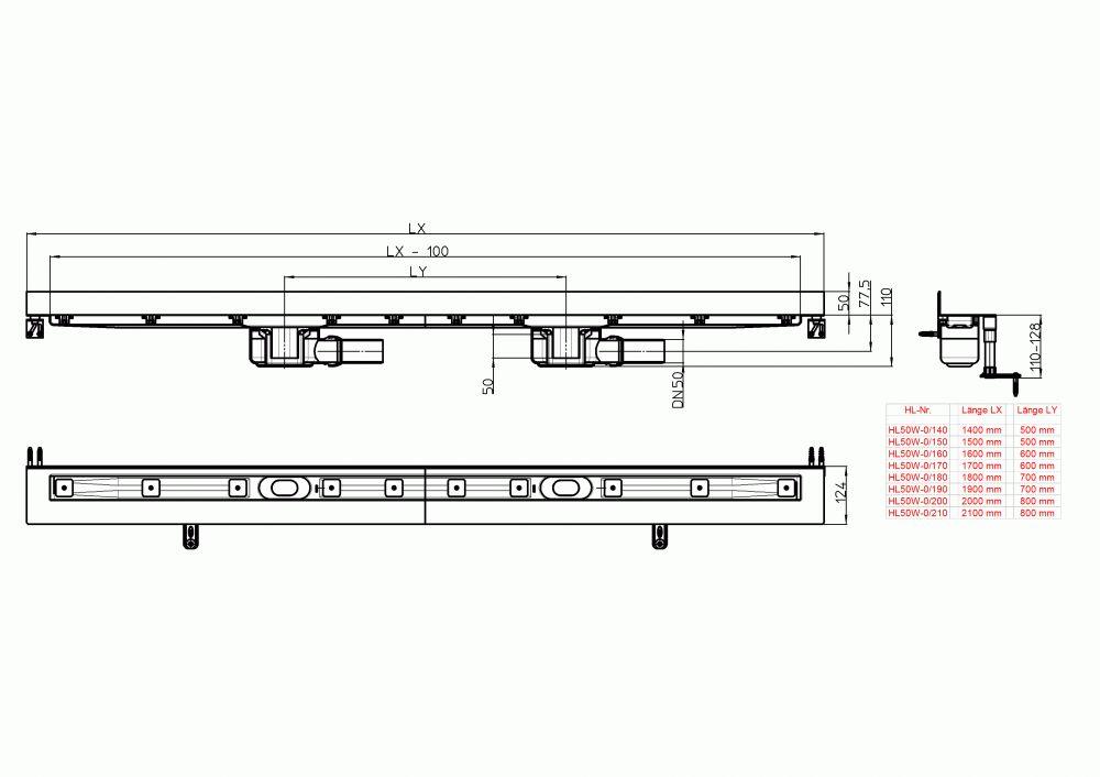 HL50W.0/200 Zuhanyfolyóka nemesacélból a padló és a fal találkozásába építve, DN50 kimenetű lefolyóval, szerelési segédanyagokkal, fedél nélkül. Beépítési hossz 2000mm.