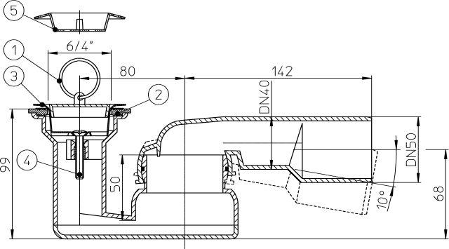 """HL514 Zuhanytálca szifon, vízszintes DN40/50x6/4"""" gömbcsuklós kimenettel, 6/4"""" szeleppel, hajfogóval, dugóval"""