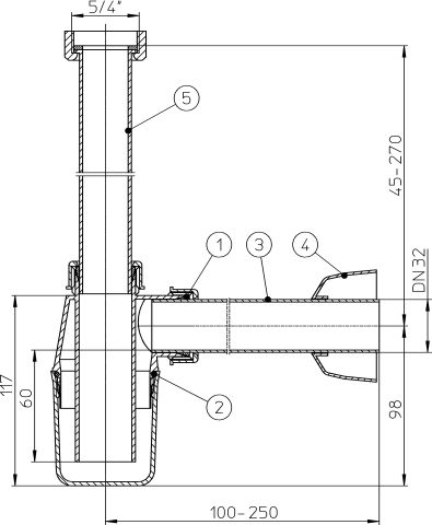 HL132/30 Mosdószifon DN32x5/4' rozettával