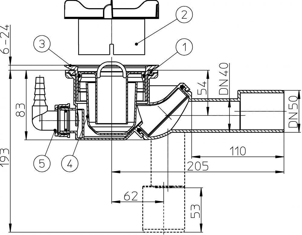 HL522V.0 Zuhanytálca szifon, DN40/50 elfordítható kimenettel, d 90mm nyíláshoz, fedél nélkül, HL19.2 tömlőcsatlakozóval