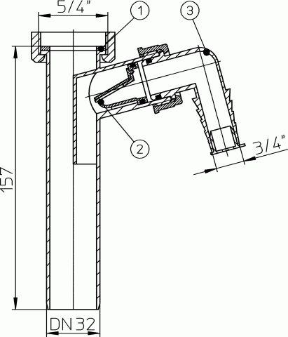 HL13/30 Bekötőcső DN32x5/4' mosógép-csatlakozóval