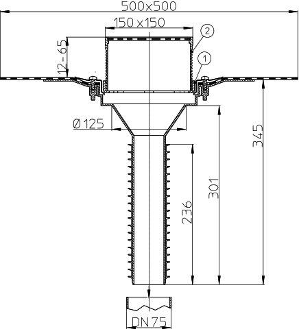 HL69BH/7 Tetőlefolyó, DN75 tetőjavításhoz, 148x148mm/137x137mm lefolyóráccsal, gyárilag felhegesztett bitumengallérral