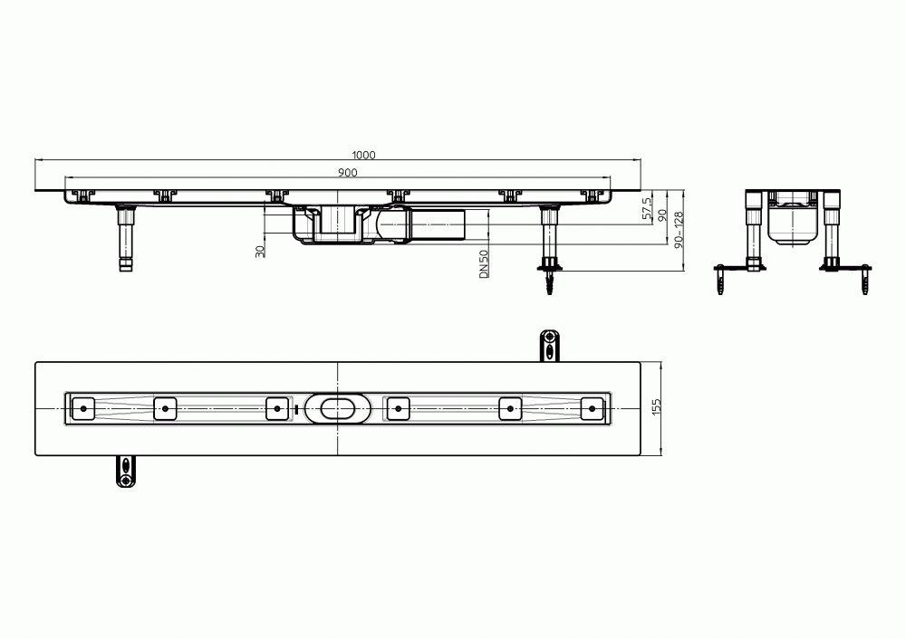 HL50FF.0/100 Alacsony beépítési magasságú, sík kivitelű zuhanyfolyóka nemesacélból, DN50 kimenetű lefolyóval, szerelési segédanyagokkal, fedőléc nélkül. Beépítési hossz 1000mm.