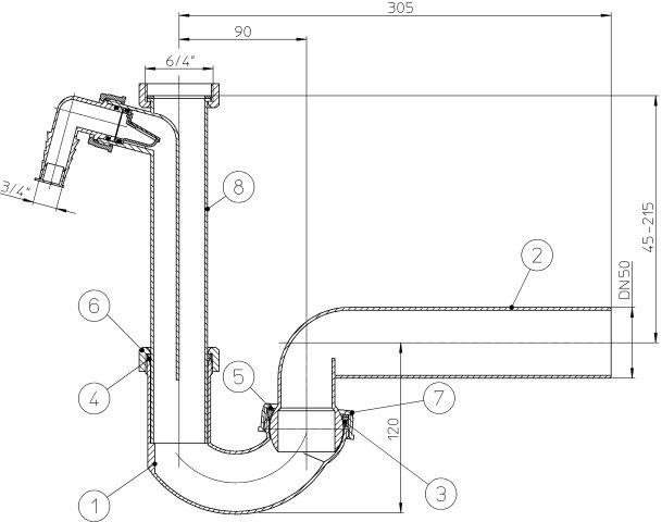 """HL100/50 csőszifon DN50x6/4"""" gömbcsuklóval és mosógép csatlakozóval, mosogató szifon"""
