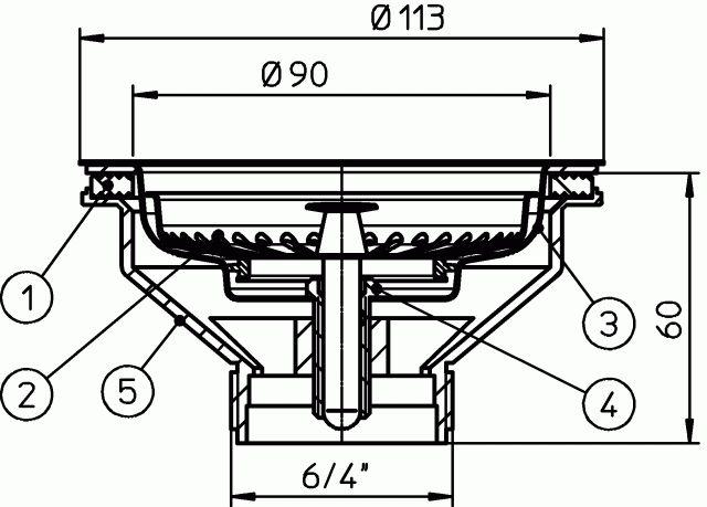 """HL14/90 Konyhai leeresztő szelep 6/4"""", d 90mm nyílású tálcákhoz rozsdamentes acél szeleptányérral."""