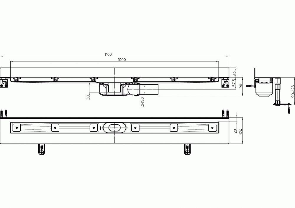 HL50WF.0/110 Alacsony beépítési magasságú zuhanyfolyóka nemesacélból a padló és a fal találkozásába építve, DN50 kimenetű lefolyóval, szerelési segédanyagokkal, fedél nélkül. Beépítési hossz 1100mm