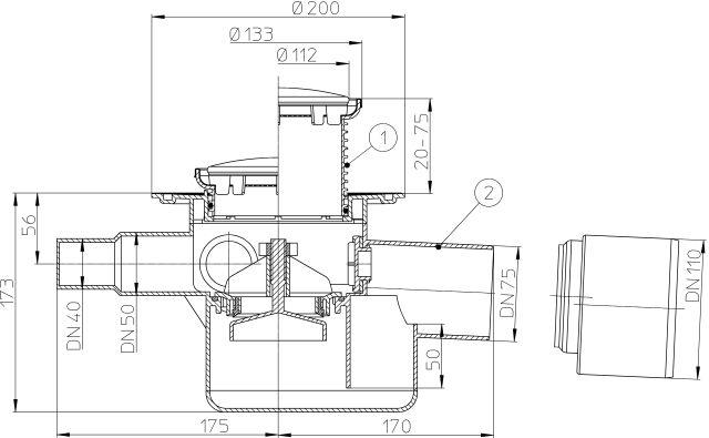 HL70R Padlólefolyó DN75/110 vízszintes kimenettel, szigetelő karimával, visszacsapó szeleppel, 3 db. DN40/50 bemenettel, d 131/d 112mm
