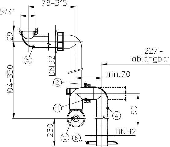 HL137.1/30 Mosdószifon (helytakarékos) DN32x5/4' függőleges kimenettel