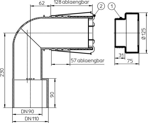HL225/90 WC-csatlakozó könyök PE-ből DN90/110 rövidíthető bemenettel, ajakos tömítéssel védősapkával