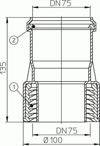 HL9/7 Átmeneti idom DM75, műanyag/öntöttvas