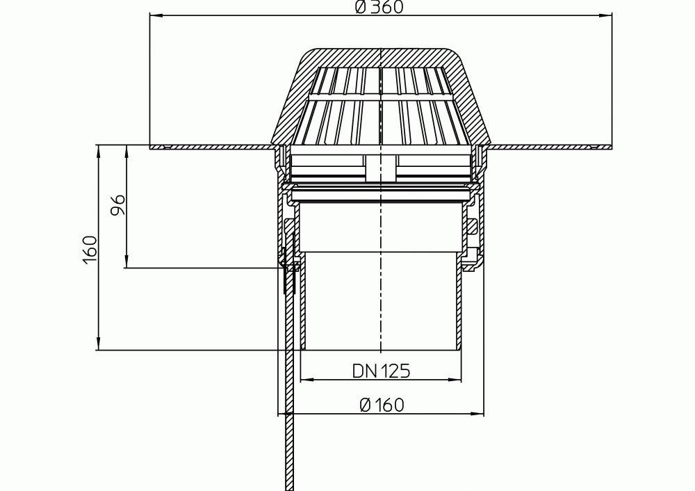 HL62.1F/2 Lapostető lefolyó függőleges DN125, PP szigetelő tárcsával, fűthető (10-30W/230V), lombfogó kosárral