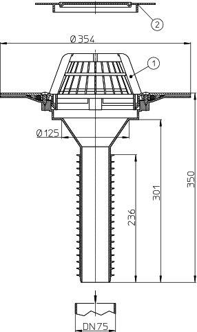 HL69P/7 Lapostető lefolyó felújításhoz, DN75 csőhöz, PVC karimával.