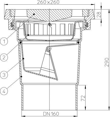 HL606.1/5 Perfekt lefolyó DN160 függőleges kimenettel, 260x260mm öntöttvas kerettel, 226x226mm öntöttvas ráccsal, mechanikus bűzzárral, szemétfogó kosárral.