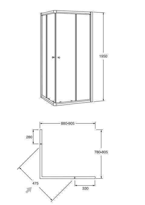 Alföldi Miron 80x90x195 cm-es  Téglalap alakú zuhanyfülke / Fehér profillal / UDW8090NAU120RP-01