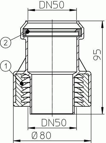 HL9/50 Átmeneti idom DM50 műanyag/öntöttvas