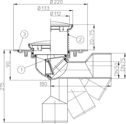 HL80R Balkon- és teraszlefolyó DN50/75 elfordítható kimenettel, szigetelő karimával, mechanikus bűzzárral, d 133mm/d 112mm