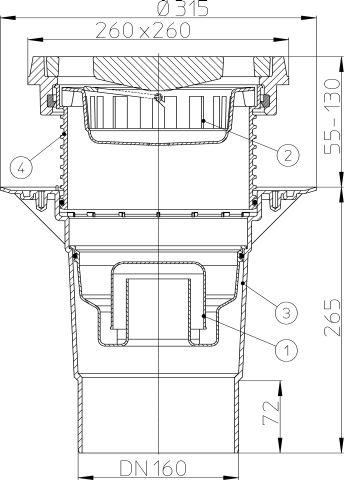 HL616.1W/5 Perfekt lefolyó DN160 függőleges kimenettel, szigetelő karimával, 260x260mm öntöttvas kerettel, 226x226mm öntöttvas ráccsal, vízbűzzárral, szemétfogó kosárral.