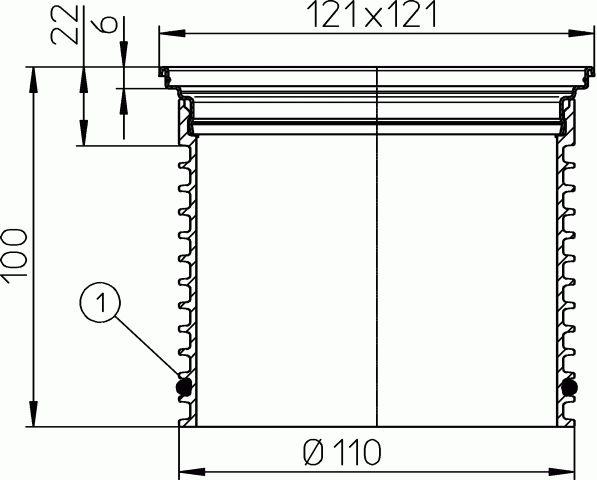 HL3200 Rácstartó d 110, 121x121mm KLICK-KLACK rendszerű nemesacél rácstartó kerettel (V2A)