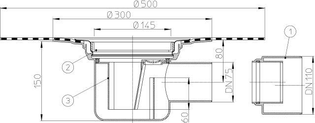 HL72.1KH Padlólefolyó test DN75 vízszintes kimenettel, gyárilag felhegesztett bitumengallérral