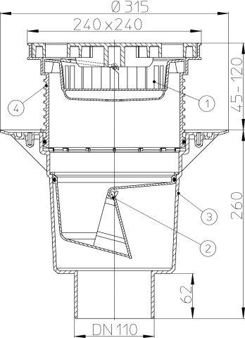 HL616L/1 Perfekt lefolyó DN110 függőleges kimenettel, szigetelő karimával, 244x244mm műanyag kerettel, 226x226mm műanyag ráccsal, mechanikus bűzzárral, szemétfogó kosárral.