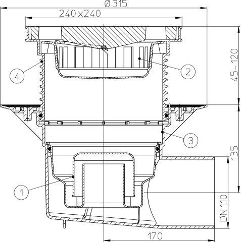 HL615W Perfekt lefolyó DN110 vízszintes kimenettel, szigetelő karimával, 244x244mm műanyag kerettel, 226x226mm öntöttvas ráccsal, vízbűzzárral, szemétfogó kosárral.