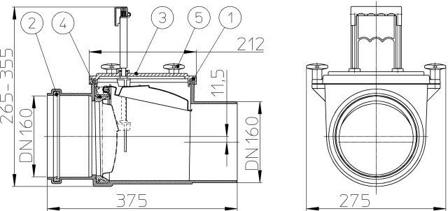 HL715.1 Visszatorlás gátló szelep, DN160 nemesacél csappantyúval, tisztítófedéllel, kézi zárral