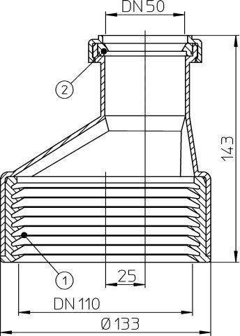 HL9/50/1 Átmeneti idom DM50/110 műanyag/öntöttvas