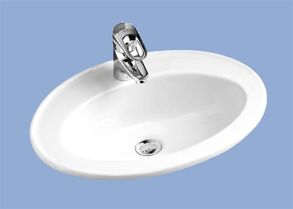ALFÖLDI BÁZIS / 4171 54 01 / 54 x 42 cm-es beépíthető mosdó, Fehér színben, pultba szerelhető / 41715401