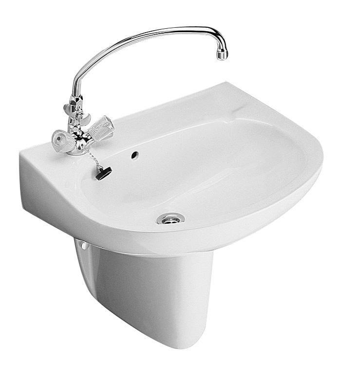 ALFÖLDI BÁZIS / 4196 7L 01 / 41967L01, 60 x 44 cm-es fali mosdó, bal oldali csaplyukkal, fehér színben