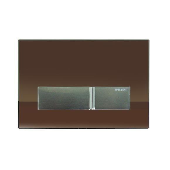Geberit Sigma40 szagelszívó működtető egység / nyomólap ventilátorral, barna üveg, 115.600.SQ.1 / 115600SQ1, Duofresh beépíthető wc tartályhoz