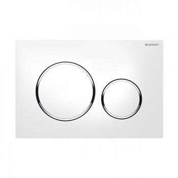 Geberit Sigma20 nyomólap két mennyiségű / 2 vízmennyiségű fehér / magasfényű króm / fehér, UP320 115.882.KJ.1 /115882KJ1