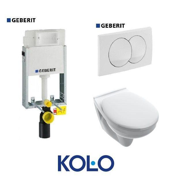 GEBERIT Kombifix Basic WC Tartály 110.100.00.1+Delta 20 Fehér Nyomólap+KOLO Fali WC+Basico wc-ülőke szett AKCIÓ!
