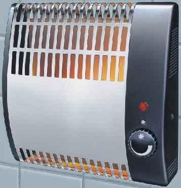 Heller FSK 505 fali elektromos mini konvektor, 500 W, falra szerelhető kompakt fűtő készülék, inox szín