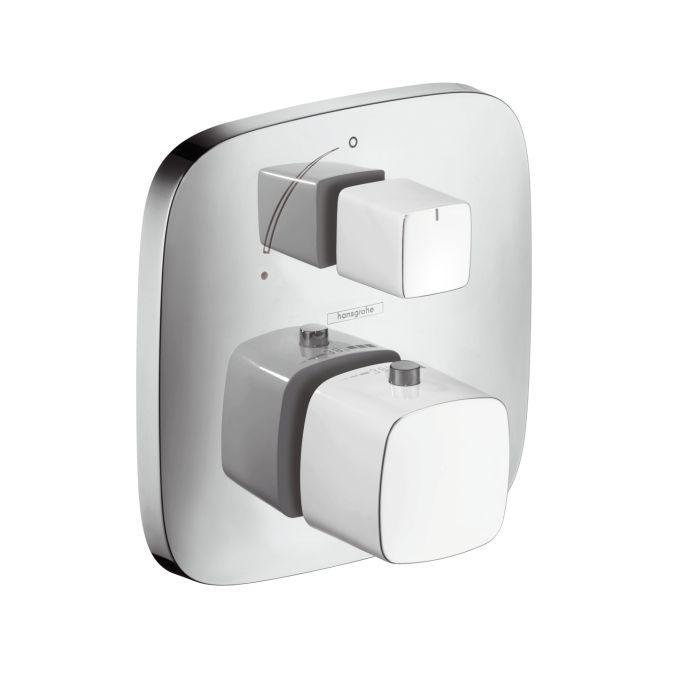 HansGrohe PuraVida Falsík alatti termosztát színkészlet elzárószeleppel / fehér-króm / 15775400 / 15775 400