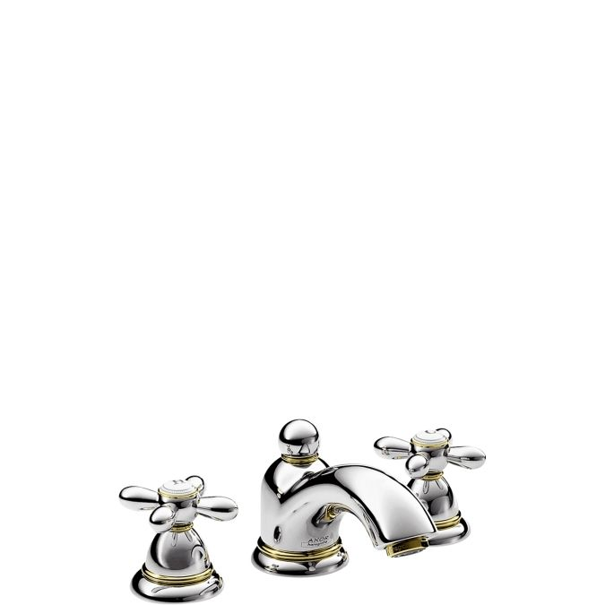 HansGrohe AXOR Carlton 3-lyukú mosdócsaptelep keresztfogantyúval DN15 / króm-arany hatású / 17133090 / 17133 090
