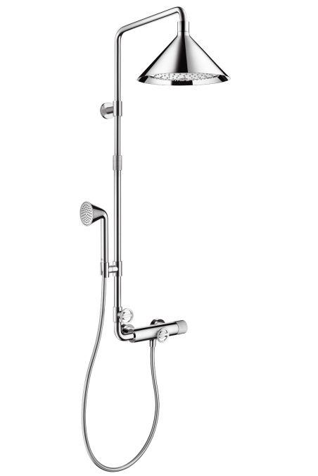 HansGrohe AXOR Front Showerpipe termosztátos csapteleppel és 2jet fejzuhannyal / króm / 26020000 / 26020 000